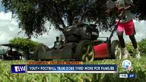 Youth football team does yard work for families [Video]