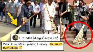 News video: Hema Malini FAKE ACTING CAUGHT While Cleaning DELHI Roads | Gets TROLLED