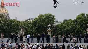 French Inventor Flies Above Crowd On Hoverboard During Bastille Day Celebration ! [Video]