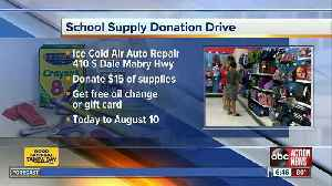 Receive a free oil change or car repair discount by donating school supplies [Video]