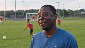 Professional soccer player Freddy Adu coaches a youth soccer [Video]
