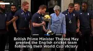 Watch: May welcomes England cricket team to Downing Street after World Cup triumph [Video]