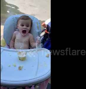 US baby gets brain freeze for the first time on her birthday [Video]