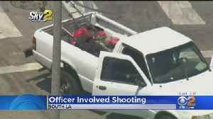 LAUSD Police Officer Hurt In Shooting; Witness Says Suspects Were Fighting Over Lawn Mower [Video]