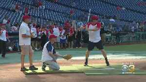 CBS3's Cleve Bryan Plays In Police Athletic League's Media Softball Game [Video]