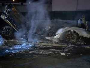 Driver arrested after fiery Tesla crash in Cardiff [Video]