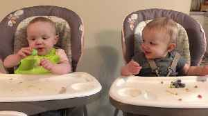 Twins 'share' frozen treat and get the giggles [Video]