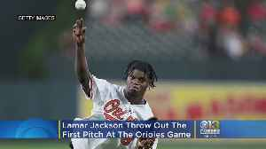 Ravens QB Lamar Jackson Throws Out First Pitch At O's Game [Video]