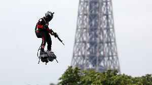 Watch: Onboard footage from jet-powered flyboard during Bastille Day celebrations [Video]