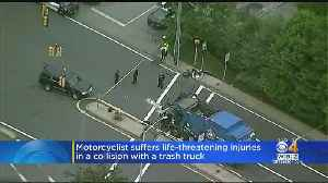 Motorcyclist Suffering From Life Threatening Injuries After Colliding With Trash Truck [Video]
