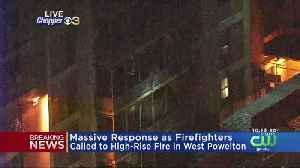 News video: WATCH: Man Climbs Down From High-Rise After Fire Breaks Out In West Powelton