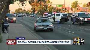 Man possibly impaired when hit by car [Video]