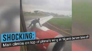 News video: Man climbs on top of plane's wing before take-off
