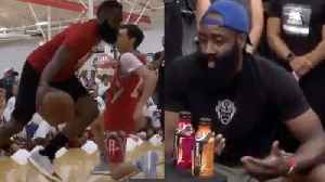 James Harden CALLED OUT By A Kid For His Traveling Stepback & BREAKS Youth Campers Ankles! [Video]