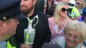 News video: Shane Lowry arrives in Clara with Claret Jug for homecoming
