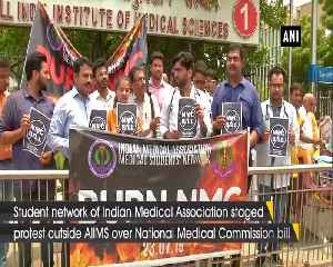 Indian Medical Association members protest against NMC bill outside AIIMS [Video]