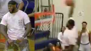 Lebron James Slams INSANE Dunk At Bronny's AAU Game & Loses His Mind When Bronny Drops His Own [Video]