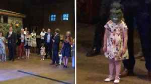 Little Girl Steals Show As She Is Filmed Wearing Hulk Mask As Newlyweds Perform First Dance [Video]