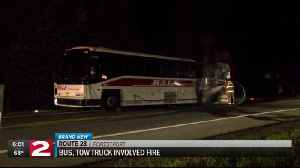 Bus, tow truck involved fire leaves one injured [Video]