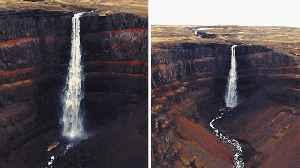 PHOTOGRAPHER CAPTURES STUNNING WATERFALL ROARING OVER VOLCANIC ROCK [Video]