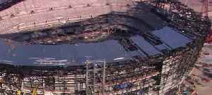 Topping out ceremony being held for stadium [Video]