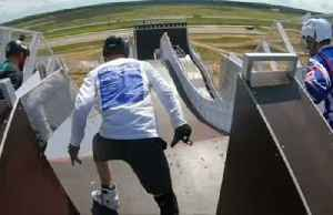 Inline skaters plunge down daunting track in new sport [Video]