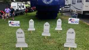 News video: Mitch McConnell Campaign Criticized For Sharing Image Of Tombstone With Opponent's Name On It