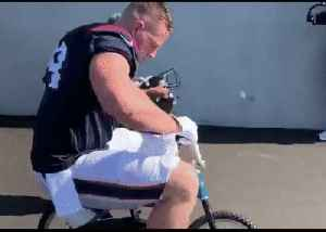 Whoops! NFL Star JJ Watt Breaks Kid's Bike Seat in Green Bay [Video]