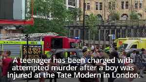 News video: Tate Modern incident: Teenager charged with attempted murder