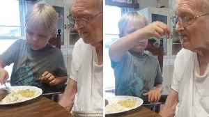 HEARTWARMING MOMENT SIX-YEAR-OLD FEEDS GREAT GRANDAD WITH ALZHEIMER'S [Video]