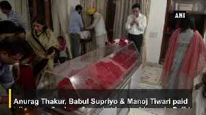 Anurag Thakur, Manoj Tiwari and others pay tribute to Swaraj at her residence [Video]