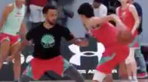 Steph Curry Gets CROSSED & Dunked On By A 7ft High School Kid! [Video]