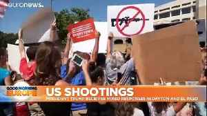 Angry protests as Trump visits Dayton and El Paso after shootings [Video]