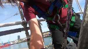Wheelchair user hoisted onto crow's nest of 'disability friendly' ships off UK coast [Video]