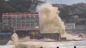 Typhoon Lekima hits China's Taizhou seeing waves reach the height of five-storey buildings [Video]