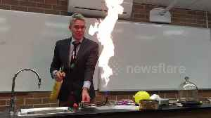 Dangers of party balloons shown off in fireball demonstration at Australian school [Video]
