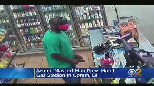 Armed Masked Man Robs Mobil Gas Station In Coram, LI [Video]