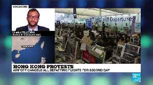 Hong Kong airport cancels departing flights for second day as protests continue [Video]
