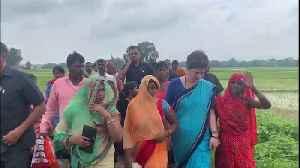 News video: Priyanka Gandhi in Umbha to meet firing victims, BJP cries political stunt