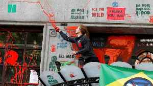 Extinction Rebellion Activists Daub Brazilian Embassy With Red Paint [Video]