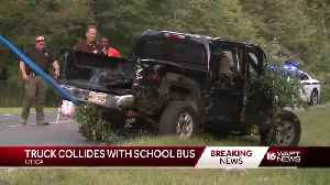 Truck collides with a school bus in Utica [Video]