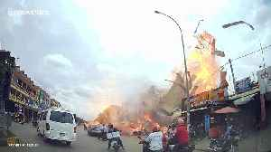 Dramatic moment petrol station explodes in Cambodia, injuring locals and tourists [Video]