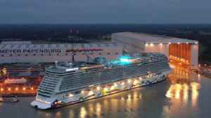 Norwegian Encore floated out at shipyard [Video]