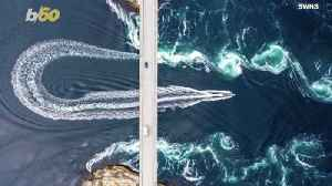 Making Waves! Photographer Captures Drone Footage Of Boat Speeding Through Strong Tidal Pools! [Video]
