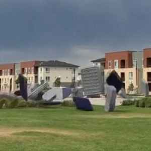 Watch strong winds send more than 150 mattresses flying through the air [Video]