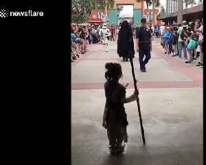 News video: Four-year-old girl dressed as Rey meets Star Wars characters at Disney World in Florida