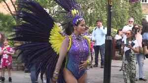 Samba dancer prepares for Notting Hill Carnival [Video]