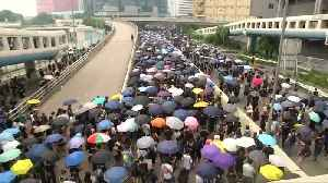 Hong Kong police use tear gas to counter protest petrol bombs [Video]