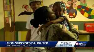 Soldier mom home from Kuwait surprises daughter [Video]