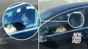 Tesla driver asleep at the wheel of self-driving car [Video]